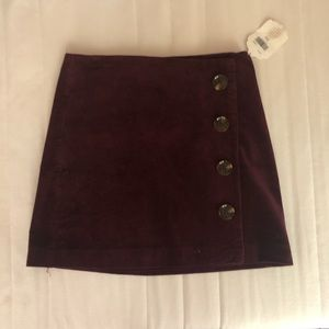 Red corduroy button asymmetrical pencil skirt